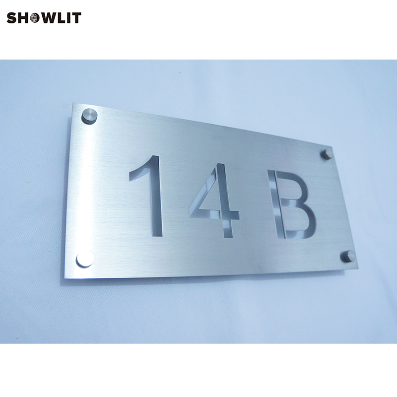 Custom Made Modern House Number Signs in Brushed Stainless SteelCustom Made Modern House Number Signs in Brushed Stainless Steel