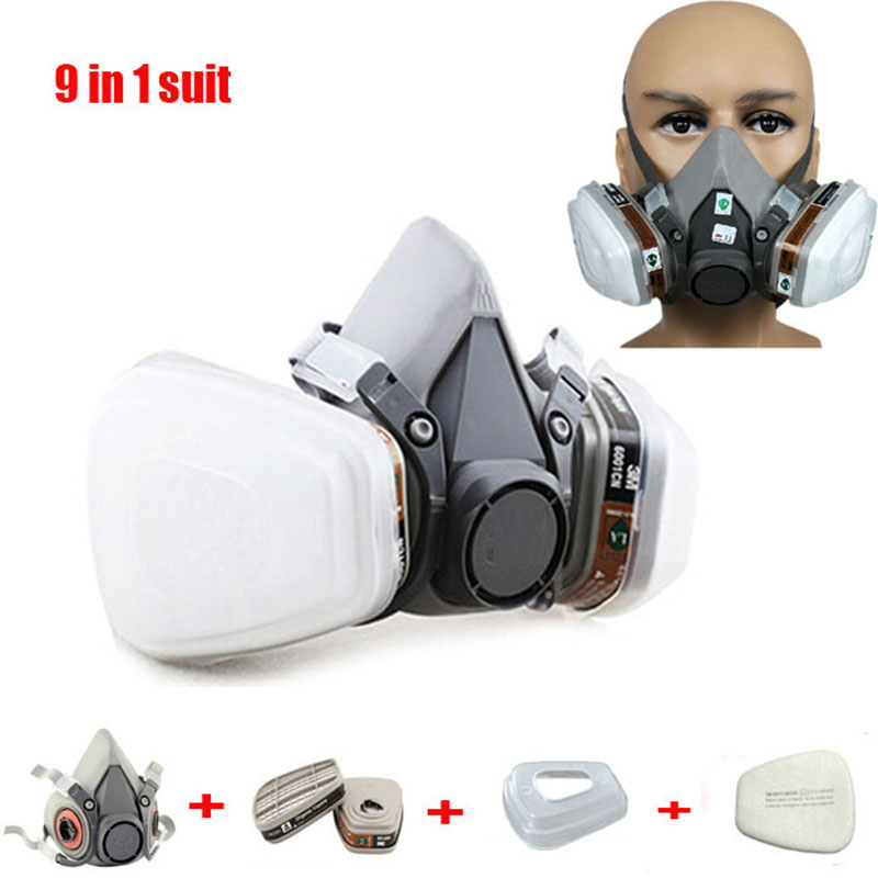9 in 1 Suit Half Face Gas Mask Respirator Painting Spraying Dust Mask For 3 M 6200 N95 PM2.5 gas Mask skull style half face mask old silvery