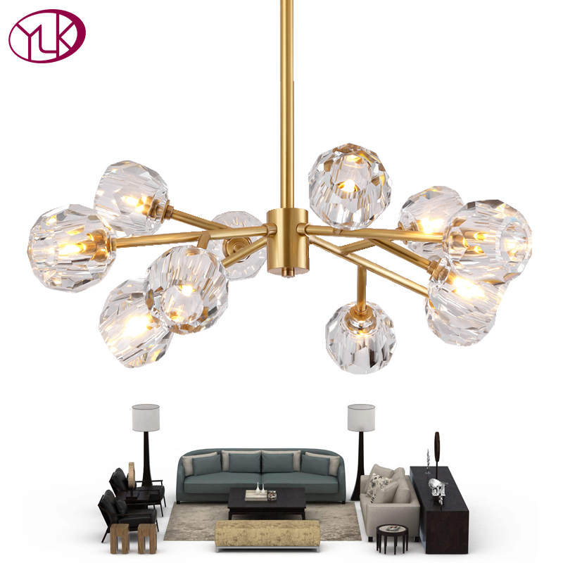 Youlaike Modern Crystal Chandelier For Living Room Luxury LED Chandeliers Lighting Dining Room Crystal Lights Lustres De Cristal red crystal chandelier led indoor lighting bedroom lamparas de cristal lustres de teto luminaire chandeliers for dining lights