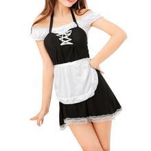 Yfashion Sexy Lingerie Maid Uniform Sleepdress Set Women Temptation Off Shoulder Black White Patchwork Underwear Nightdress