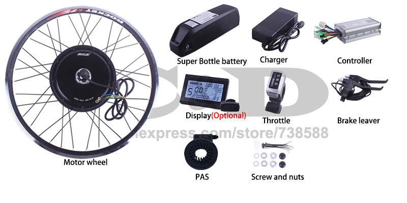 Top Free Shipping 1500W E-bike Electric Bike Conversion kit Driect Drive Motor MXUS 48V 52V 13AH 17AH Hailong Battery LCD 3