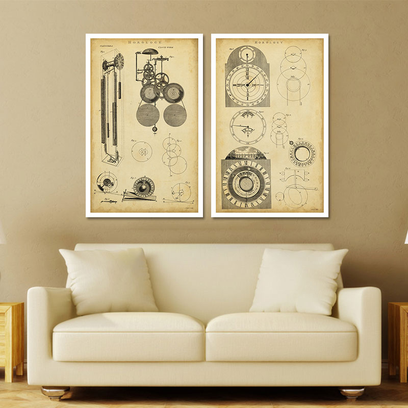 2piece/set Physical Design drawings decoration clock wall art ...