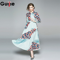 Guijie Spring Autumn Long Sleeve Shirt Dress Mint Green Tropical Floral Print Vintage Dresses Elegant Tunic Pleated Midi Dress