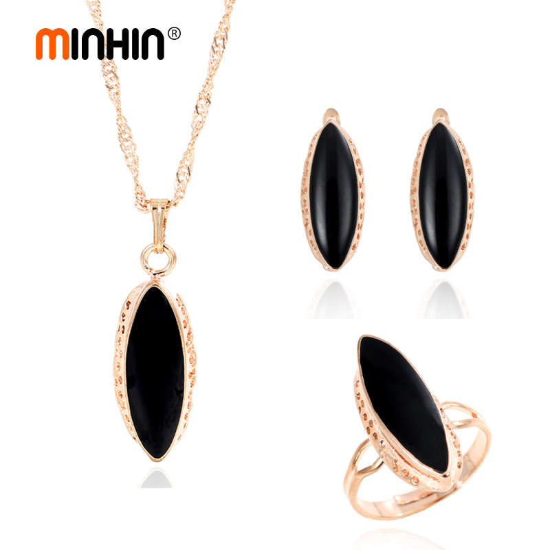 MINHIN Earring-Ring Jewelry-Set Pendant-Decoration Golden-Plated-Accessory Black Oval