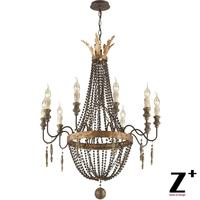 America Style Delacroix Candle Chandelier Light 10 Lights French Bronze Wood Bead Free Shipping