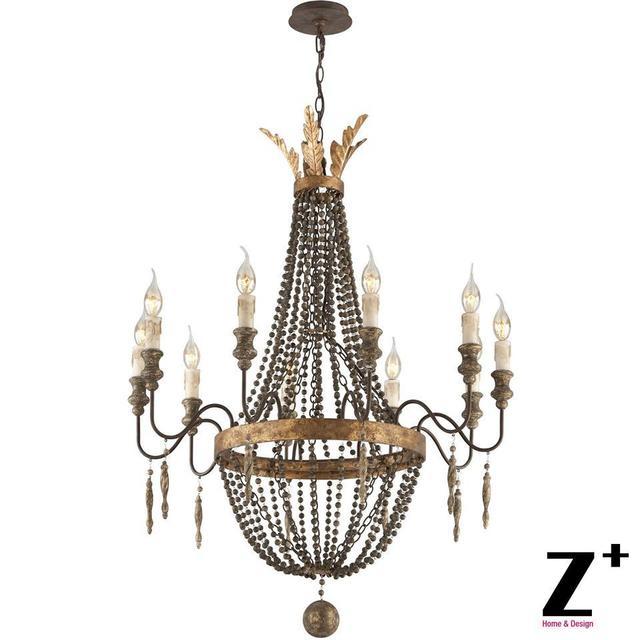Hervorragend Replik Artikel Amerika Stil Delacroix Kerze Kronleuchter Licht 10 Lichter  Französisch Bronze Holzperle Kostenloser Versand