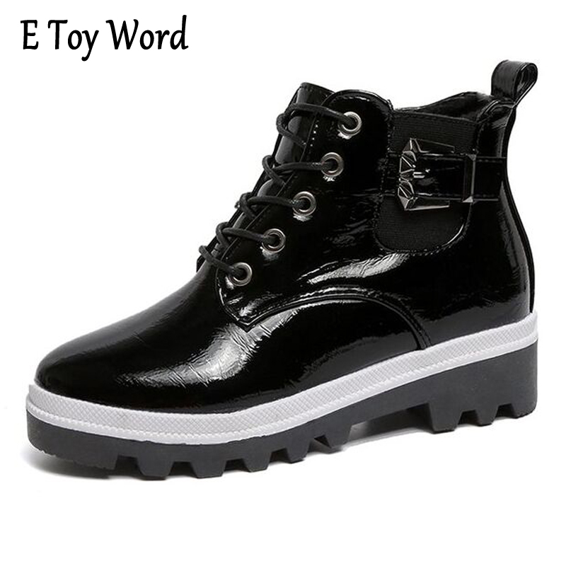 E TOY WORD Winter Women Shoes Round toe Elastic Mouth Lace-Up Bright Patent Leather Ankle boots Platform Shoes Boots Women lennon j skywriting by word of mouth