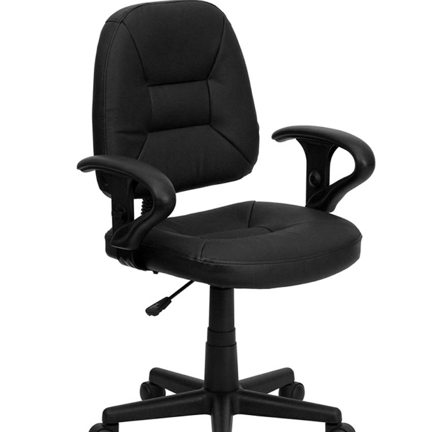Flash мебель Середины Спины Черный Кожаный эргономичный стул с оружием [863-BT-682-BK-GG]