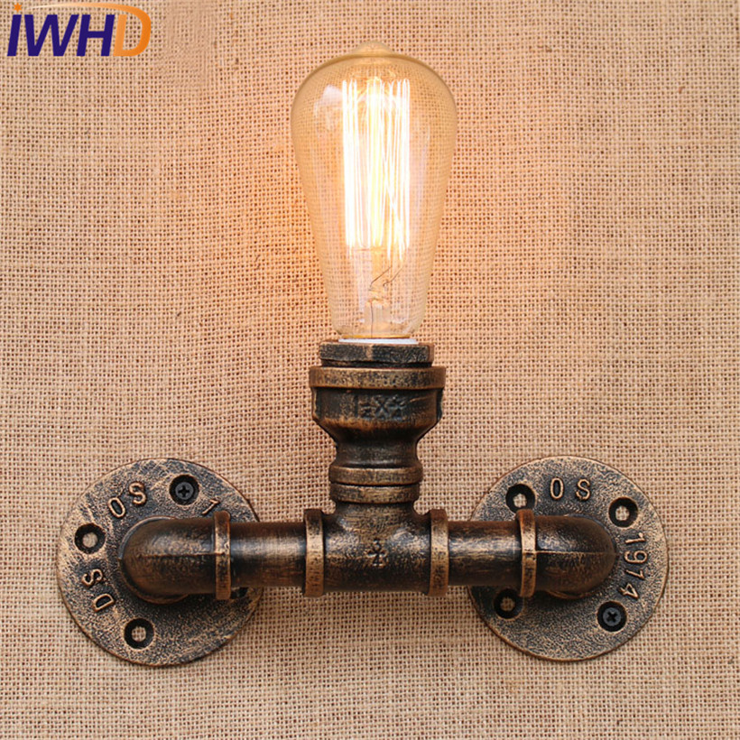 IWHD Loft Style Iron Vintage Wall Lamp Industrial Edison Wall Sconce Retro Water Pipe Wall Light Fixtures Home Lighting Lampara iwhd american edison loft style antique pendant lamp industrial creative lid iron vintage hanging light fixtures home lighting