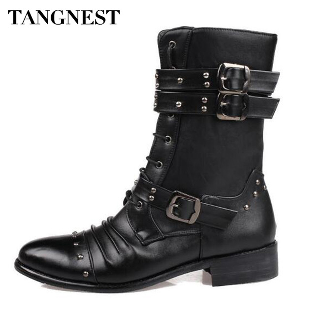 Tangnest Men Autumn NEW Mid-calf Boots Split Leather Rivets Motorcycle Boots Pointed Toe Punk Boot Wedge Shoes Size 37~44