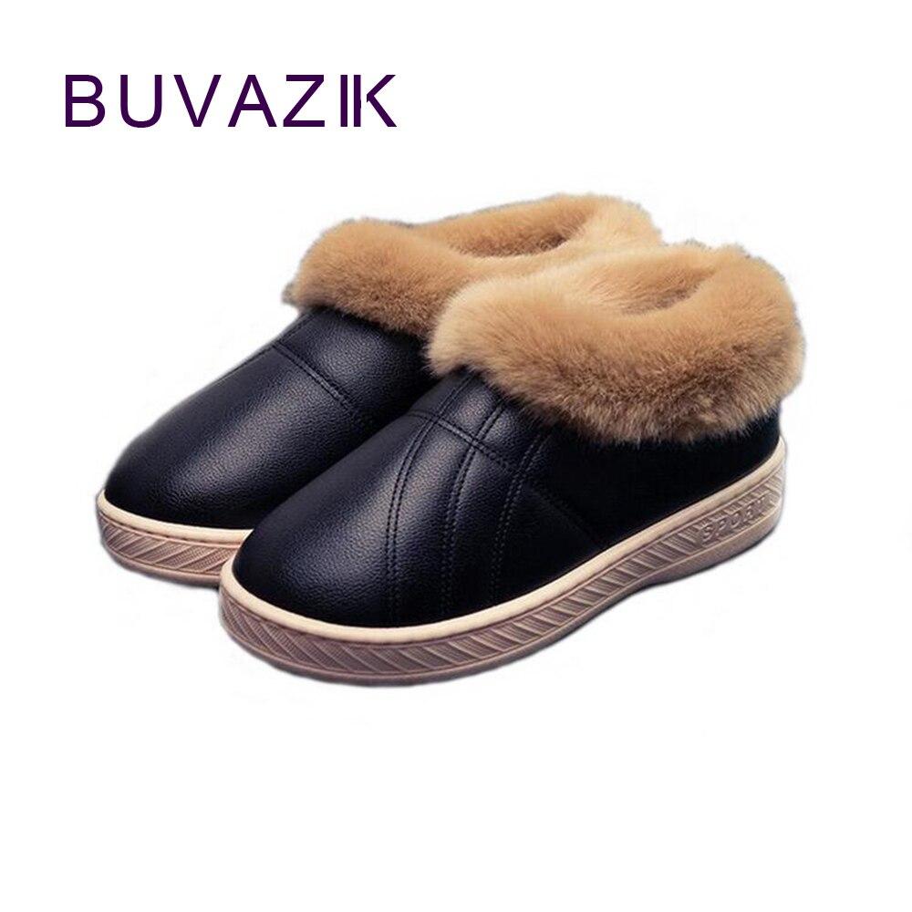 2017 Winter female non-slip PU leather women snow boots thick warm cotton ankle boot shoes botas feminia neve big size 43 44 cd диск zaz paris 1cd cyr