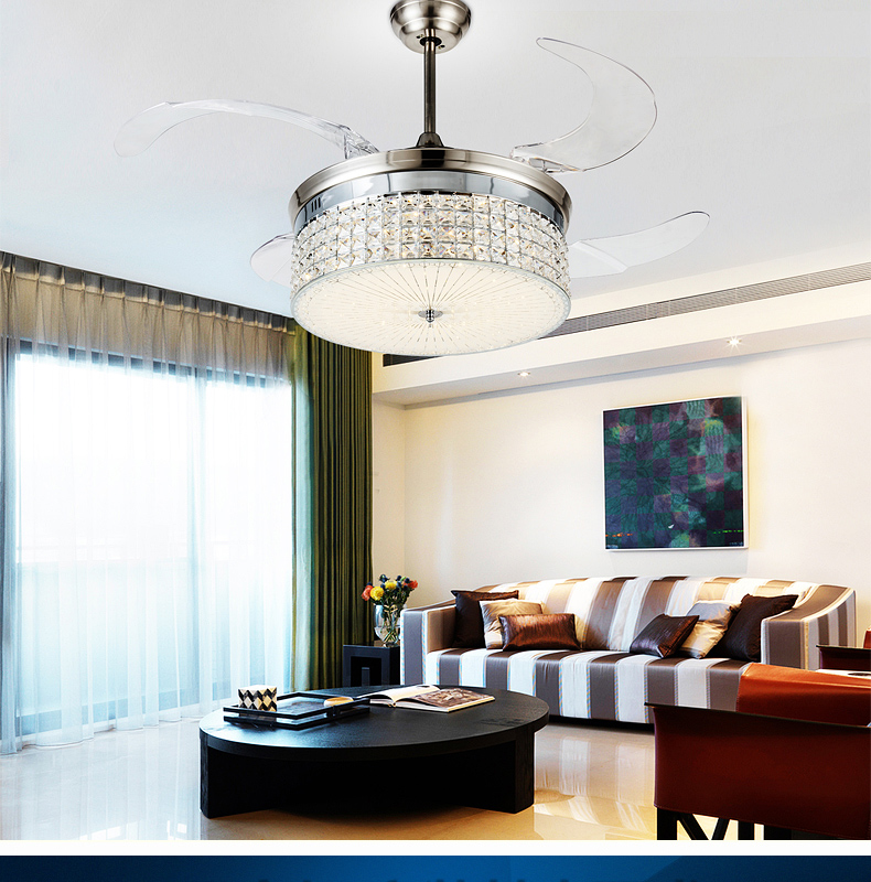 LED Fan Light Ceiling Fans Crystal With Remote Control Simple Stylish Modern Living Room Dining Bedroom Lights 42inch In From