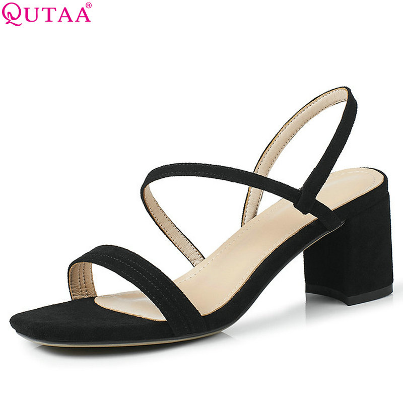 QUTAA 2018 Women Sandals Square Toe Fashion Women Shoes Square High Heel Buckle Simple All Match Women Sandals Size 34-43 qutaa 2018 women sandals pu leather fashion square high heel women shoes casual black square toe ladies sandals size 34 42