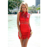 2019 Hot Red Lace Cocktail Dress Sleeveless Sexy Short Cocktail Party Dresses Fashion High Neck Above Knee Mini Dress