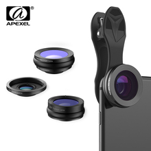 APEXEL 3in1 230 Degree Fisheye 0.36x Wide Angle 15X Macro Lens Mobile Phone Lens with Clip for Samsung iPhone X 7s Xiaomi Redmi