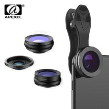 APEXEL 3in1 230 תואר Fisheye 0.36x רחב זווית 15X מאקרו עדשת טלפון נייד עדשת עם קליפ עבור Samsung iPhone X 7 s Xiaomi Redmi