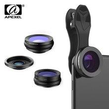APEXEL lente de ojo de pez 3 en 1 de 230 grados, gran angular de 0.36x, lente Macro de 15X, lente de teléfono móvil con Clip para Samsung, iPhone X, 7s, Xiaomi Redmi