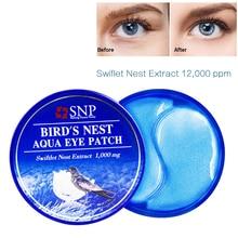 Антивозрастная маска для глаз SNP 1000 мг Птичье гнездо, 60 патчей с гиалуроновой кислотой