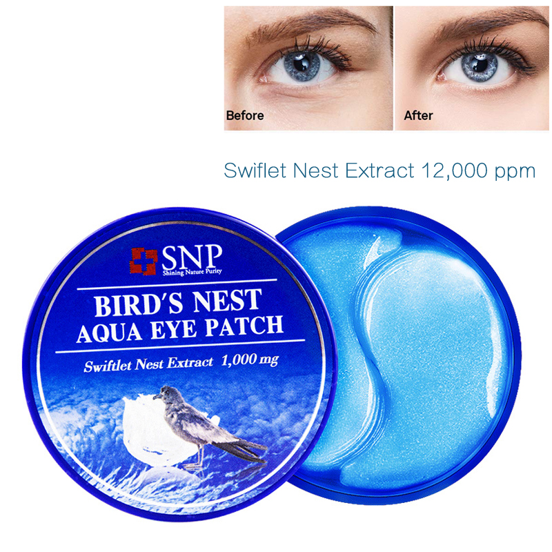 SNP 1000mg Bird's Nest Aqua Eye Patch 60 Patches With Hyaluronic Acid Moisture EGF Anti Aging Under Eye Mask