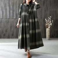 BUYKUD Casual Draped Pleated Maxi Dresses Cotton Stand Collar Long Sleeve Office Lady Linen Dress Elegant Loose Plus Size Dress