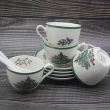 Set of 4 Christmas Tree Tea Cup With Plate and Spoon European Style Saucer Coffee Ceramic