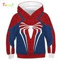 Meninos camisola crianças 3d impresso hoodies spiderman cosplay traje adolescentes encabeça desenhos animados moda meninos moletom infantil