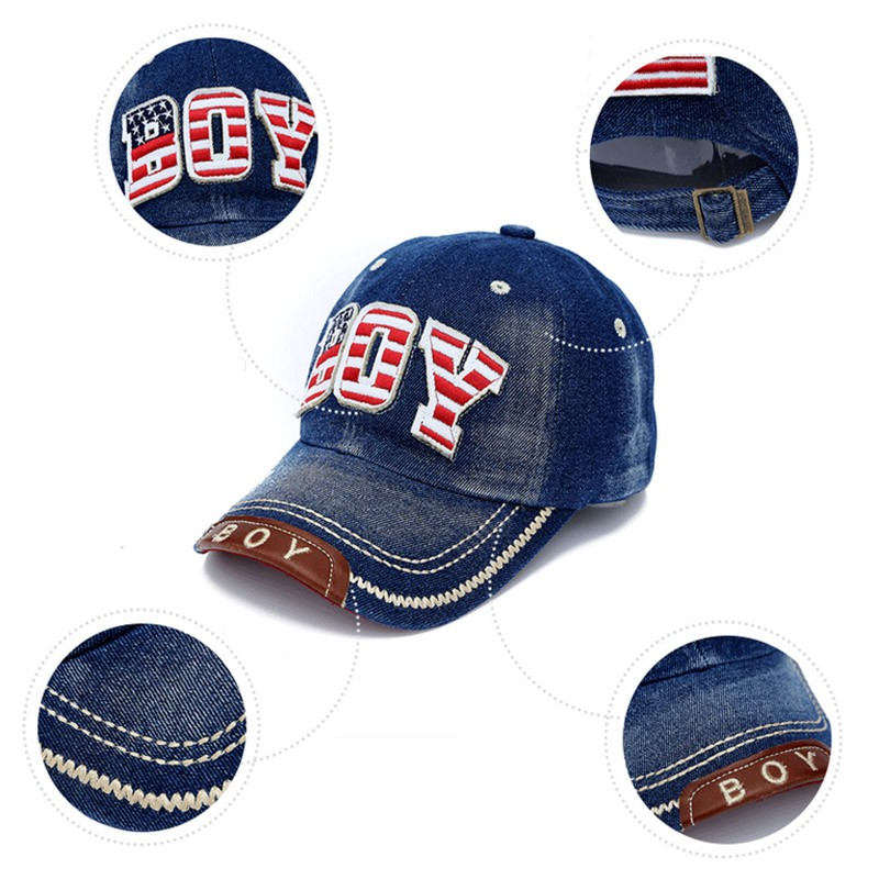 "Red, White and Blue Embroidered ""Boy"" Child's Baseball Cap - Details"