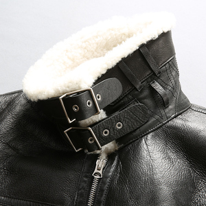 Image 4 - Mannen shearling leren jas winter piloot jas dikke Merino schapen bont jas natuurlijke witte bontjas mannen vlucht jas mannelijke