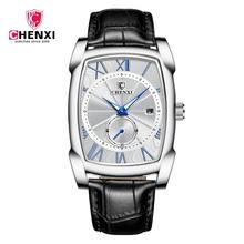 Luxury Retro Men Square Watches CHENXI Silver Roman Numerals Waterproof Genuine Leather Watches Men's Clocks Calendar Unique(China)