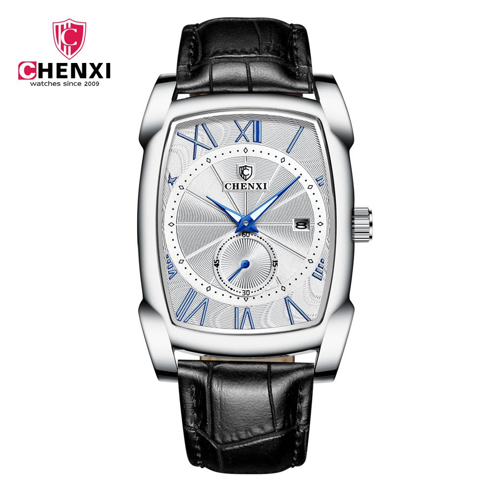 Luxury Retro Men Square Watches CHENXI Silver Waterproof Genuine Leather Men Watches Roman Numerals Stop Watch Calendar Unique