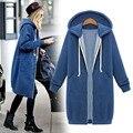 2015 новый зима женщины толстовки с длинными рукавами свободные долго разделе плюс бархат с капюшоном толстовка на молнии куртки