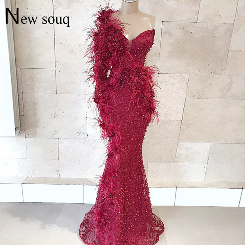Feather Beaded   Evening     Dress   Custom Made Muslim Arabic Long Sleeve Formal Prom   Dresses   2019 Robe De Soiree Turkish Party Gowns