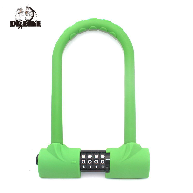 DRBIKE Bicycle Silicone Lock Bike Motorbike U Code Locks Anti Thief Safety Lock with Resettable Password Cycling Accessories goldatom bicycle lock super b u shape crescent lock 1217 2