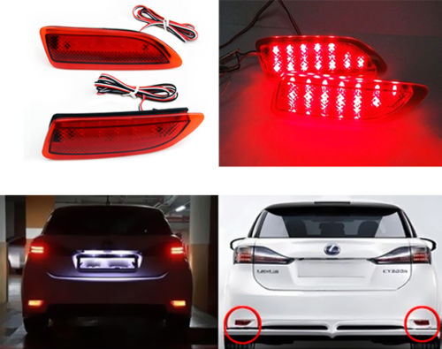 For Lexus CT200h/Corolla 2011-2013 Car Side Marker Light Red Len Bumper Reflector Brake Lamp