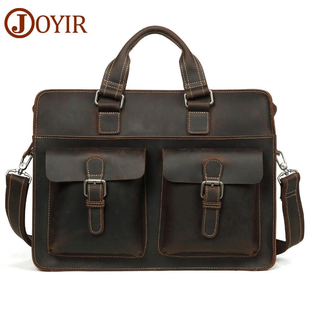aec0e379f70d JOYIR мужской портфель Винтаж Crazy Horse кожаная сумка для ноутбука деловая  сумка из натуральной кожи 15