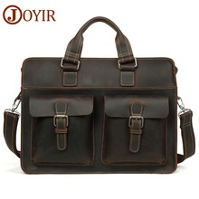 JOYIR Mens Briefcase Vintage Crazy Horse Leather Laptop Bag Business Genuine 15.6 Shoulder Handbag