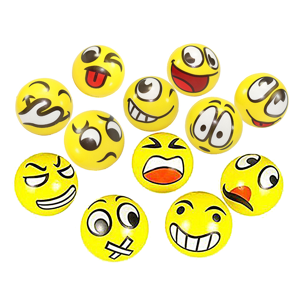 12pcs lot Modern Fun Emoji Face Squeeze Balls Stress Release Emotional Hand Wrist Exercise Stress Balls