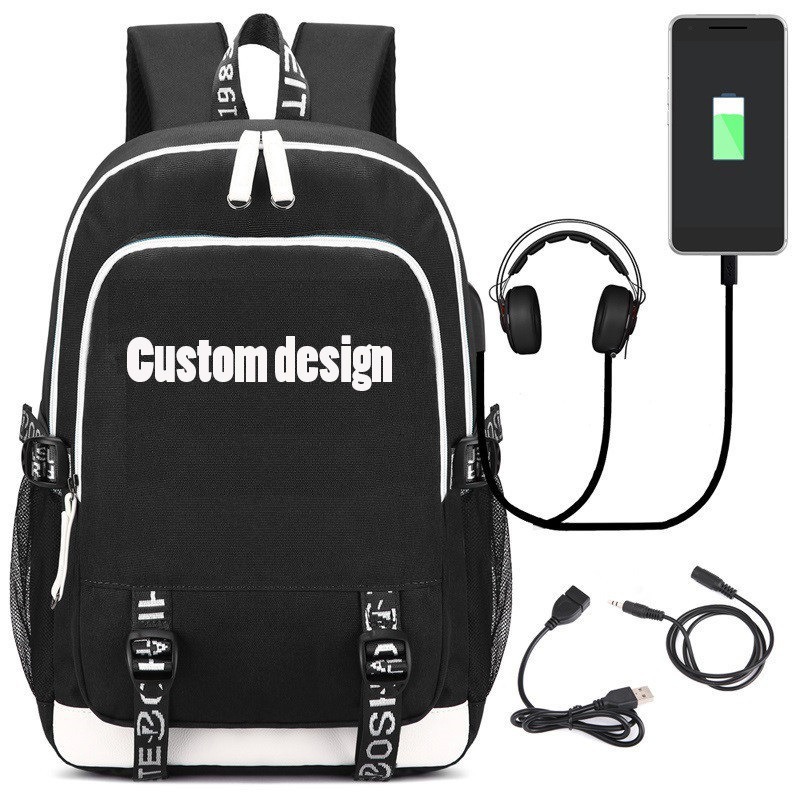 Fashion Backpack with USB Charging Port and Headphone Loptop School Bags for Teenage Girls and Boys