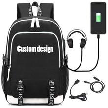 Модный рюкзак с usb зарядным портом и наушниками Loptop школьные сумки для подростков девочек и мальчиков письмо Bagpack Satchel