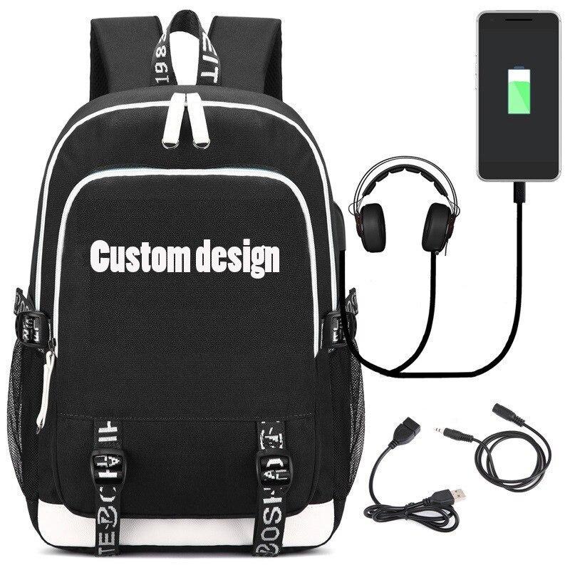 Moda mochila con puerto de carga USB y auriculares Loptop escuela bolsas para adolescentes y niños carta mochila Satchel