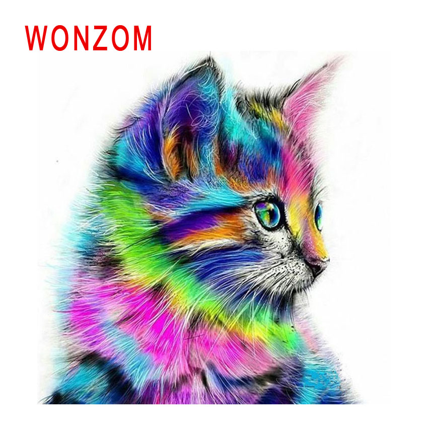 WONZOM Colorful Cat Painting By Numbers Abstract Oil Painting Animal Cuadros Decoracion Acrylic Paint On Canvas Modern Art Gift|Painting & Calligraphy| |  - title=