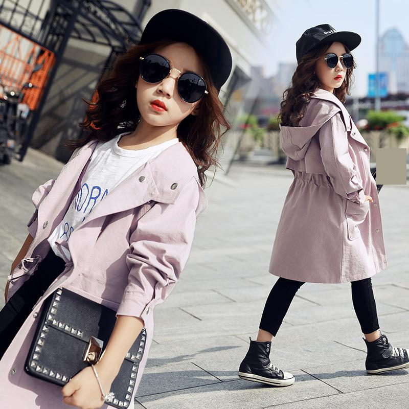 2018 Toddler Girls Trench Coat Jackets Autumn New Fashion Preppy Style Hooded Windbreaker for Children Clothes Baby Kids Outwear 0 4 years old children girls jackets cotton autumn hooded windbreaker baby girls korean style solid color coat