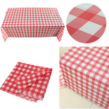 1PC 160cm*160cm Table Cloth Red Gingham Plastic Disposable Wipe Check Tablecloth for Party Outdoor Picnic BBQ(China)