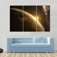 3 Pçs/set Sol Terra Via Láctea Impressão em Tela Paisagem Abstrata Emoldurado Pintura Da Vida Ainda Retrato Da Arte Da Parede Decoração Da Sua Casa de Ouro