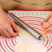 Stainless steel rolling pin solid wood dumpling leather artifacts household hammer roller dry stick large size LU9281604