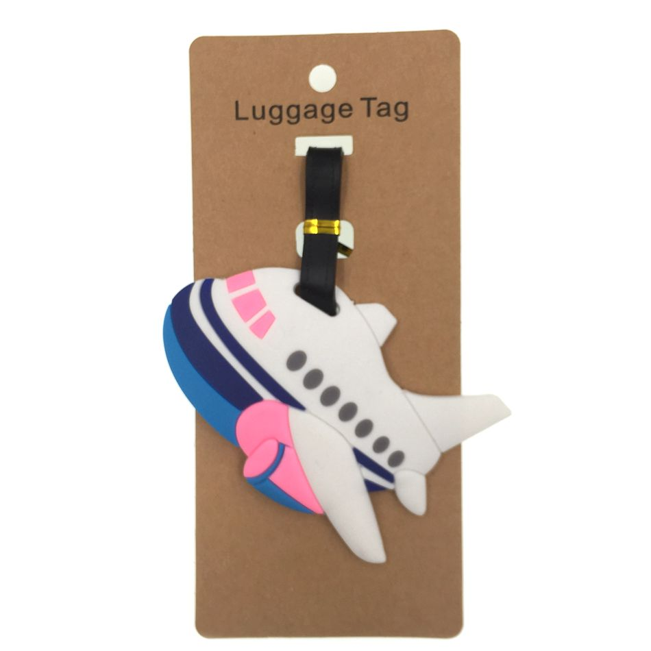 Cartoon Airplane LuggageTag Travel Accessories Silica Gel Suitcase ID Address Holder Women Men Baggage Boarding Portable Tag image