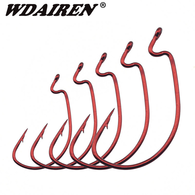 WDAIREN 20pcs/lot Wide Belly Crank Hooks Texas Rig Fishing Worm Bait Fishing Hook Ocean Fishing Tackle Boat Fishing WD-488