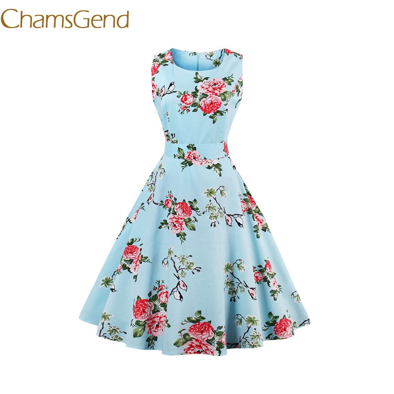 Chamsgend Vintage 1950 s blue rose flower Womens summer Garden Rockabilly Swing Prom Cocktail Party 4XL
