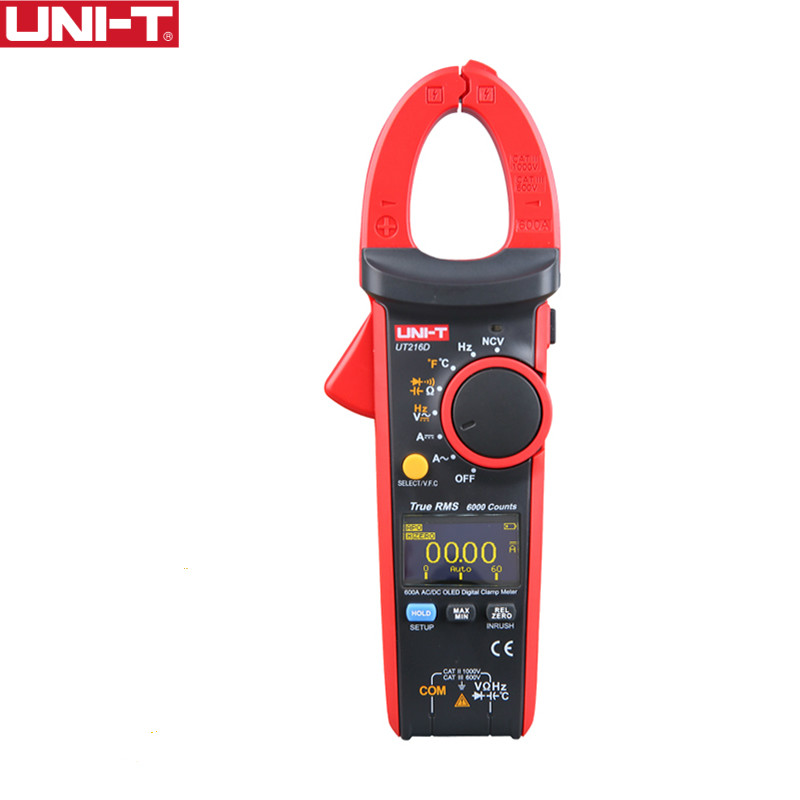 UNI T UT216D 600A Digital Clamp Meters NCV V.F.C Diode LCD Backlight OLED Display Analogue Bar Graph Work Light