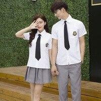 Yong Students Uniform Boy Girls Academic Summer Junior High School Costumes Men's and Women's Graduating Class Suit D 0231